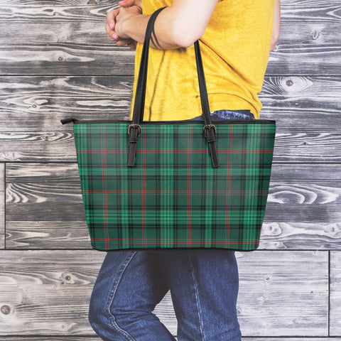 Ross Hunting Modern Tartan Leather Tote Bag (Large) | Over 500 Tartans | Special Custom Design
