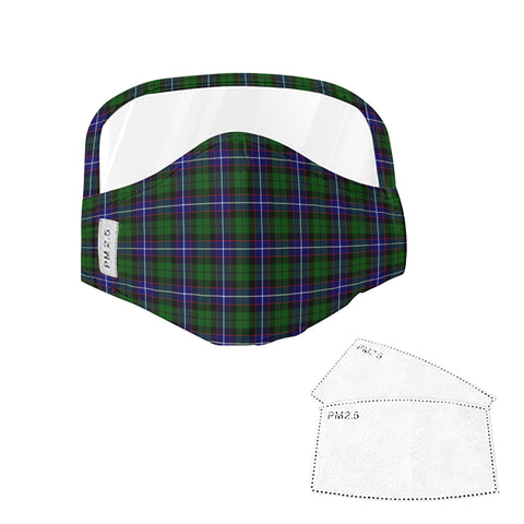 Russell Modern Tartan Face Mask With Eyes Shield - Blue & Green  Plaid Mask TH8