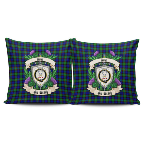 Sempill Modern Crest Tartan Pillow Cover Thistle (Set of two) A91 | Home Set