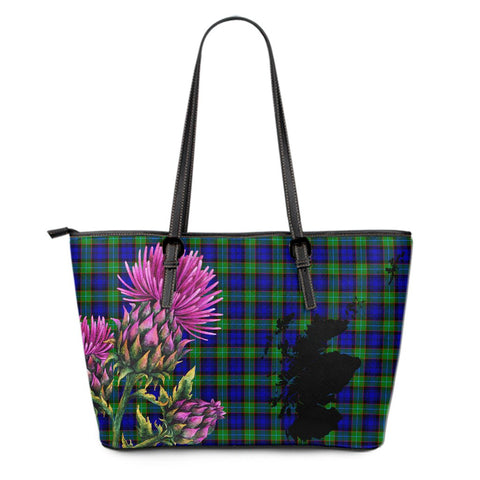 Sempill Modern Tartan Leather Tote Bag Thistle Scotland Maps A91