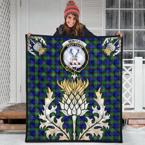 Image of Sempill Modern Clan Crest Tartan Scotland Thistle Gold Royal Premium Quilt
