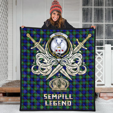 Sempill Modern Clan Crest Tartan Scotland Clan Legend Gold Royal Premium Quilt