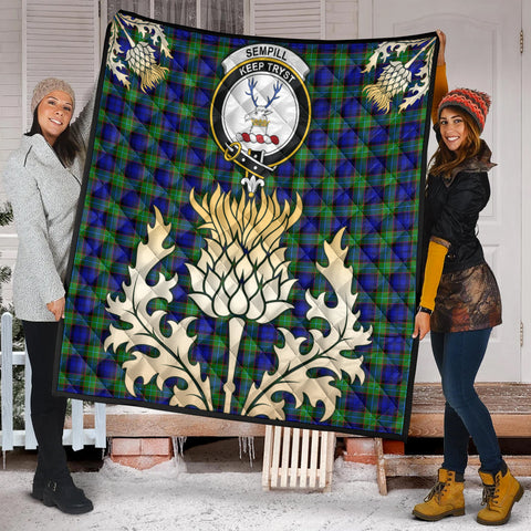 Image of Sempill Modern Clan Crest Tartan Scotland Thistle Gold Royal Premium Quilt K9