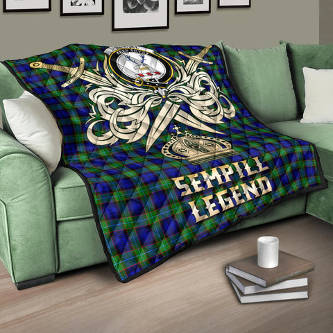 Sempill Modern Clan Crest Tartan Scotland Clan Legend Gold Royal Premium Quilt K9