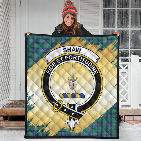 Shaw Ancient Clan Crest Tartan Scotland Gold Royal Premium Quilt