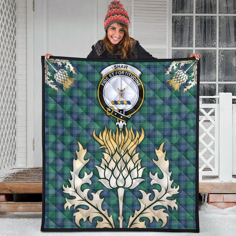 Shaw Ancient Clan Crest Tartan Scotland Thistle Gold Royal Premium Quilt
