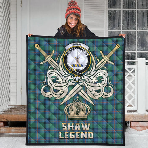 Shaw Ancient Clan Crest Tartan Scotland Clan Legend Gold Royal Premium Quilt