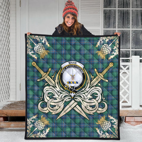 Shaw Ancient Clan Crest Tartan Scotland Thistle Symbol Gold Royal Premium Quilt