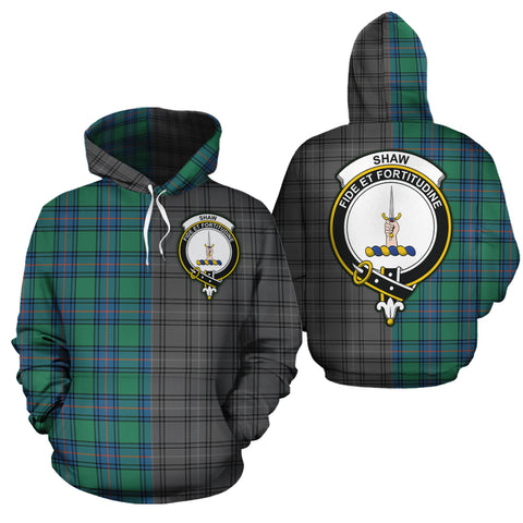 Shaw Ancient Clan Half Of Me New Version Crest Tartan Hoodie