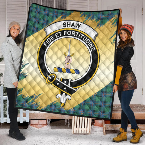 Shaw Ancient Clan Crest Tartan Scotland Gold Royal Premium Quilt K9