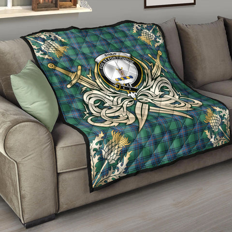 Shaw Ancient Clan Crest Tartan Scotland Thistle Symbol Gold Royal Premium Quilt K9