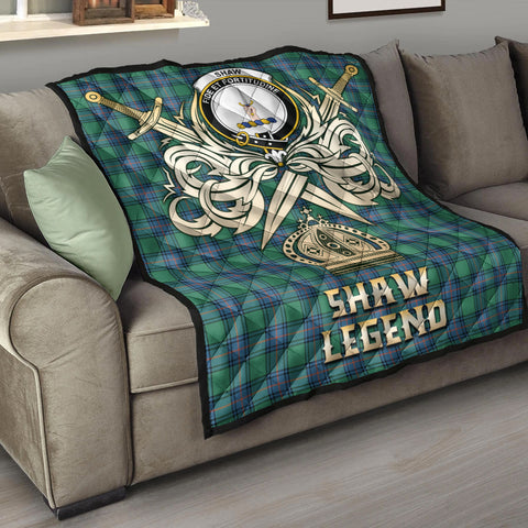 Shaw Ancient Clan Crest Tartan Scotland Clan Legend Gold Royal Premium Quilt K9