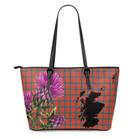 Sinclair Ancient Tartan Leather Tote Bag Thistle Scotland Maps A91