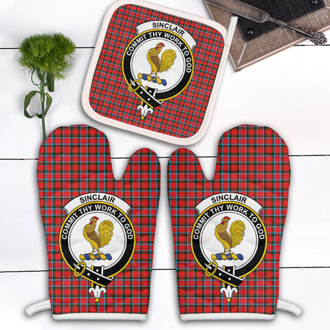 Image of Sinclair Modern Clan Crest Tartan Scotland Oven Mitt And Pot-Holder (Set Of Two)