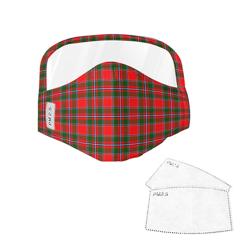 Spens Modern Tartan Face Mask With Eyes Shield - Red & Green  Plaid Mask TH8