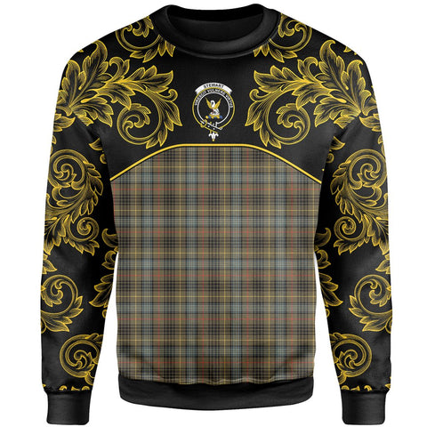 Image of Stewart Hunting Weathered Tartan Clan Crest Sweatshirt - Empire I - HJT4 - Scottish Clans Store - Tartan Clans Clothing - Scottish Tartan Shopping - Clans Crest - Shopping In scottishclans - Sweatshirt For You