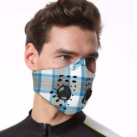 Stewart Muted Blue Tartan Dust-proof Sports Masks ( Model 1) - TH88 (USA Shipping Line)