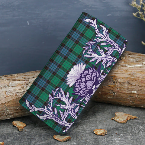 Stewart Old Ancient Tartan Wallet Women's Leather Thistle A91