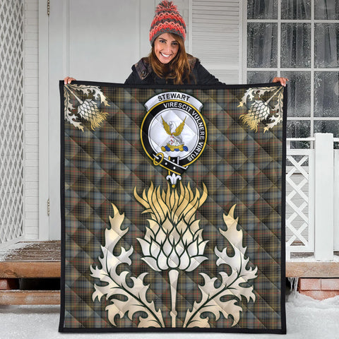 Stewart Hunting Weathered Clan Crest Tartan Scotland Thistle Gold Royal Premium Quilt