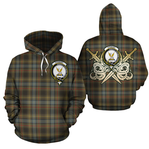 Stewart Hunting Weathered Clan Crest Tartan Scottish Gold Thistle Hoodie