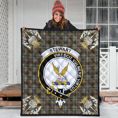 Stewart Hunting Weathered Clan Crest Tartan Scotland Thistle Gold Pattern Premium Quilt