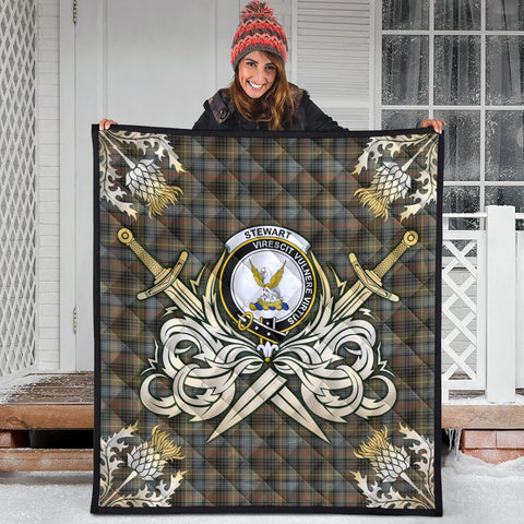 Stewart Hunting Weathered Clan Crest Tartan Scotland Thistle Symbol Gold Royal Premium Quilt