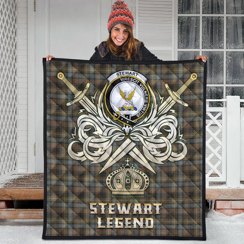 Stewart Hunting Weathered Clan Crest Tartan Scotland Clan Legend Gold Royal Premium Quilt