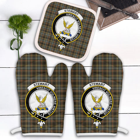 Stewart Hunting Weathered Clan Crest Tartan Scotland Oven Mitt And Pot-Holder (Set Of Two)