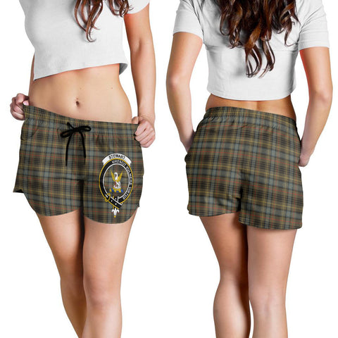 Image of Stewart Hunting Weathered Crest Tartan Shorts For Women K7