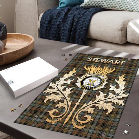 Stewart Hunting Weathered Clan Name Crest Tartan Thistle Scotland Jigsaw Puzzle