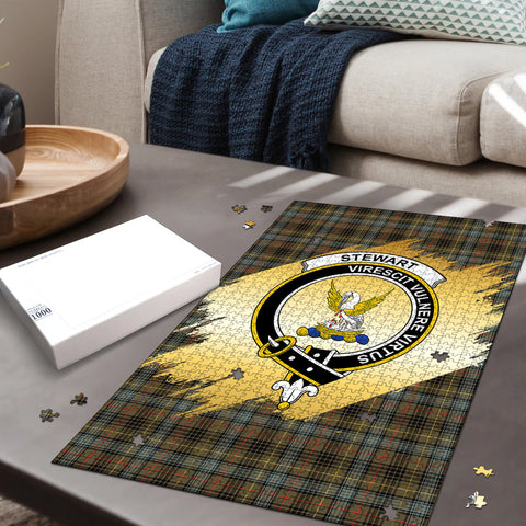 Image of Stewart Hunting Weathered Clan Crest Tartan Jigsaw Puzzle Gold