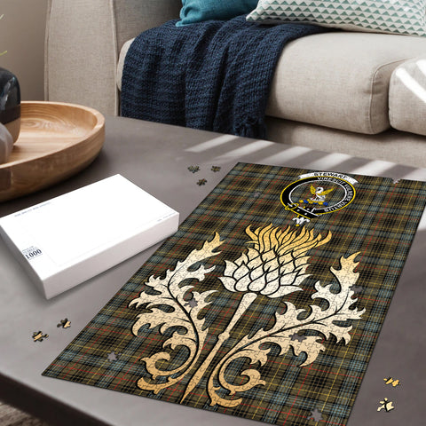Stewart Hunting Weathered Clan Crest Tartan Thistle Gold Jigsaw Puzzle