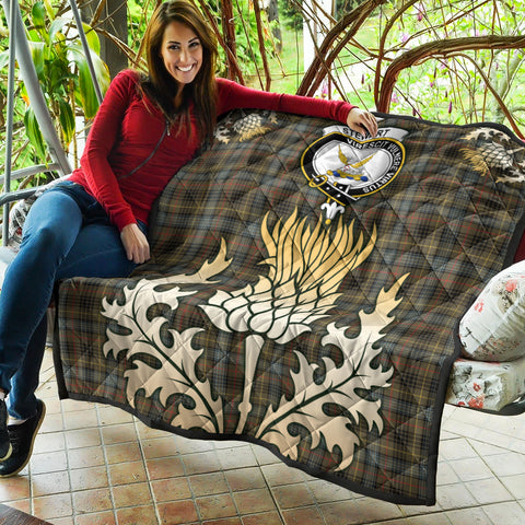 Stewart Hunting Weathered Clan Crest Tartan Scotland Thistle Gold Royal Premium Quilt K9