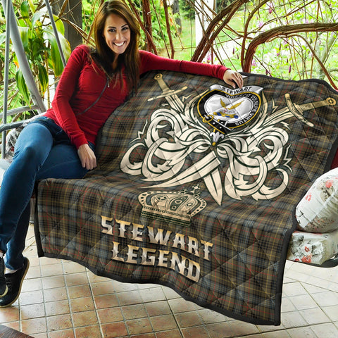 Stewart Hunting Weathered Clan Crest Tartan Scotland Clan Legend Gold Royal Premium Quilt K9
