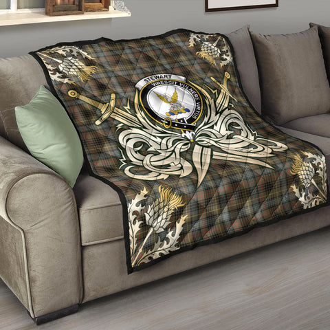 Stewart Hunting Weathered Clan Crest Tartan Scotland Thistle Symbol Gold Royal Premium Quilt K9