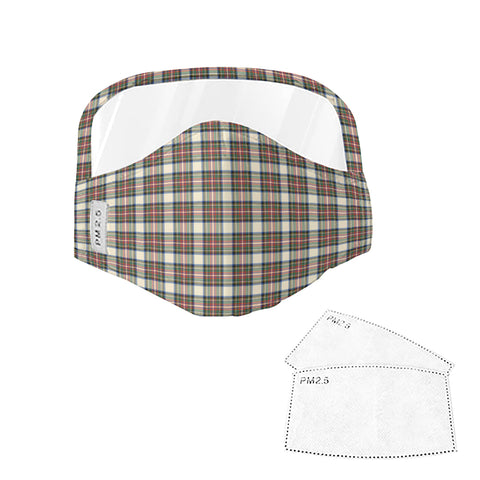 Stewart Dress Ancient Tartan Face Mask With Eyes Shield - Brown  Plaid Mask TH8