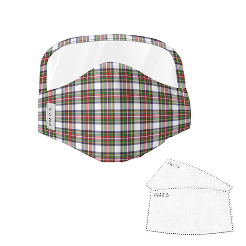 Stewart Dress Modern Tartan Face Mask With Eyes Shield - Brown & White  Plaid Mask TH8