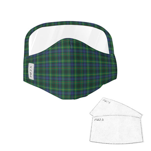 Stewart Hunting Modern Tartan Face Mask With Eyes Shield - Green & Blue  Plaid Mask TH8