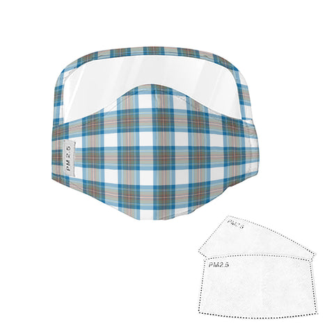 Stewart Muted Blue Tartan Face Mask With Eyes Shield - Blue & White  Plaid Mask TH8