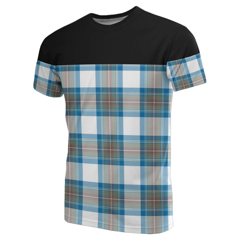 Tartan Horizontal T-Shirt - Stewart Muted Blue
