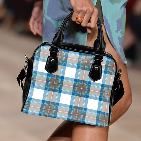 Stewart Muted Blue Tartan Shoulder Handbag for Women | Hot Sale | Scottish Clans