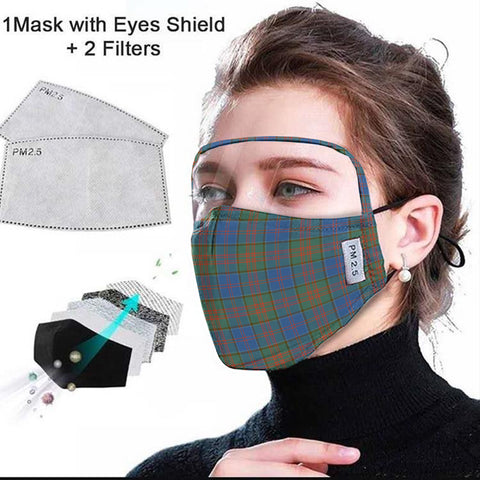 Image of Stewart of Appin Hunting Ancient Tartan Face Mask With Eyes Shield - Blue & Green  Plaid Mask TH8