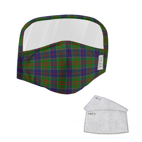 Stewart of Appin Hunting Modern Tartan Face Mask With Eyes Shield - Blue & Green  Plaid Mask TH8