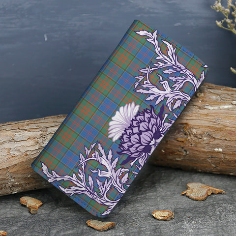 Image of Stewart of Appin Hunting Ancient Tartan Wallet Women's Leather Thistle A91