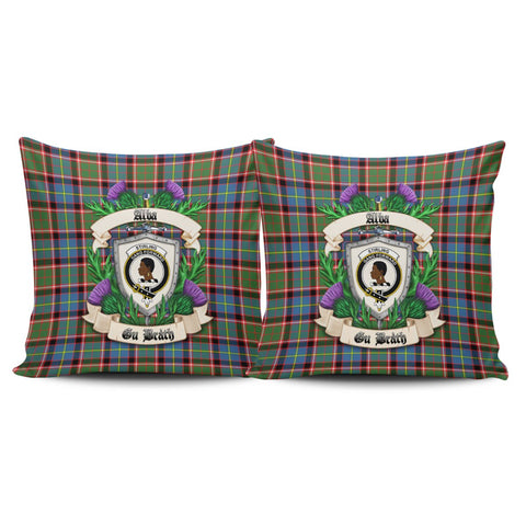 Stirling & Bannockburn District Crest Tartan Pillow Cover Thistle (Set of two) A91 | Home Set