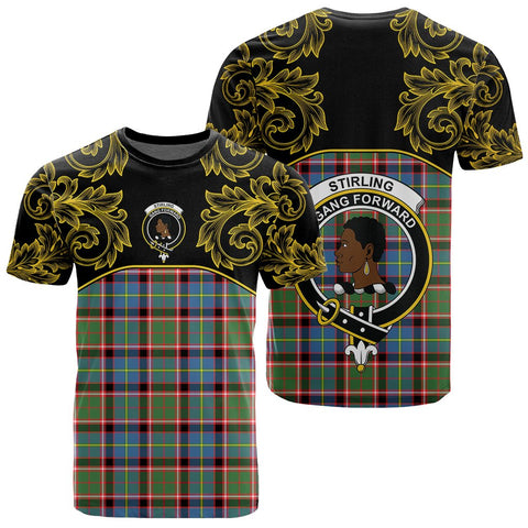 Image of Stirling & Bannockburn District Tartan Clan Crest T-Shirt - Empire I - HJT4