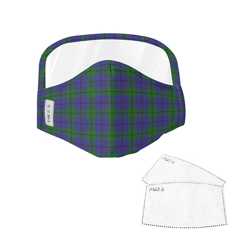 Strachan Tartan Face Mask With Eyes Shield - Green & Blue  Plaid Mask TH8