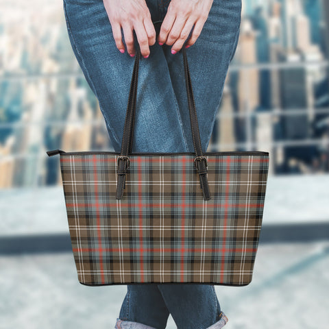 Sutherland Weathered Tartan Leather Tote Bag (Small) | Over 500 Tartans | Special Custom Design