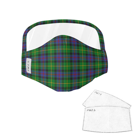 Tait Modern Tartan Face Mask With Eyes Shield - Green & Blue  Plaid Mask TH8