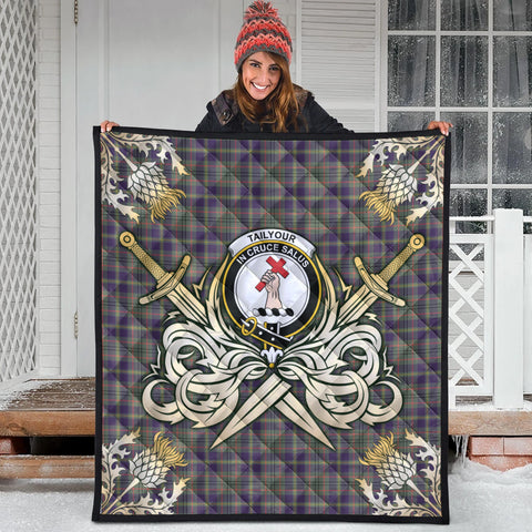 Image of Taylor Weathered Clan Crest Tartan Scotland Thistle Symbol Gold Royal Premium Quilt